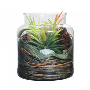 Decoratiune din sticla Flora cu flori uscate, verde
