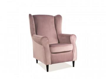 Fotoliu din catifea Baron roz