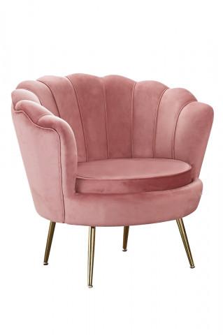 Fotoliu Shell din catifea roz