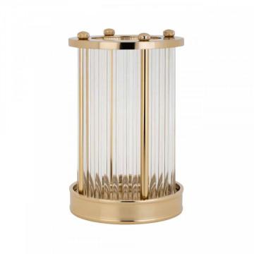 Lampa decorativa mica din aluminiu/sticla Ebrill aurie , un bec