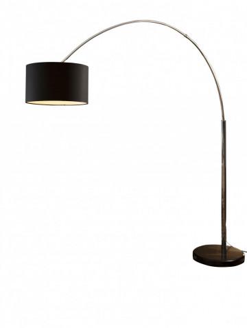 Lampadar din material textil/metal/marmura arc 210 cm negru, un bec