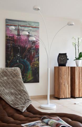 Lampadar din metal/marmura 220 cm alb, 5 becuri