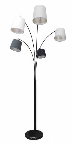 Lampadar din metal/tesatura 213 cm alb/gri/negru, 2 becuri