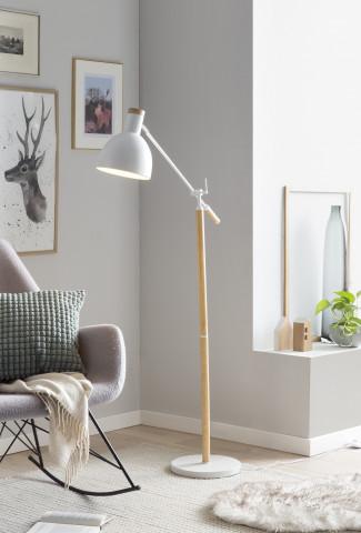 Lampadar reglabil din metal/lemn 166 cm alb, 1 bec