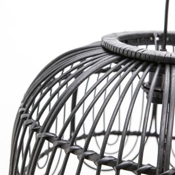 Lustra din bambus/rattan/fier Jin neagra, un bec