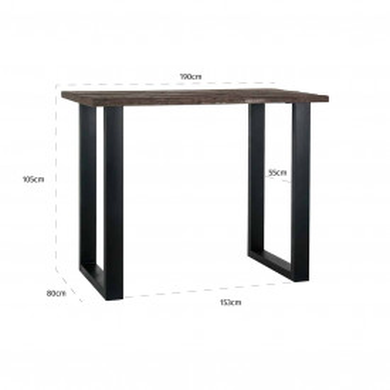 Masa de bar dreptunghiulara din lemn Raffles 105x190x80 cm maro