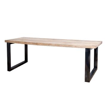 Masa dreptunghiulara cu blat din lemn de mango 240x100x78 cm maro/negru