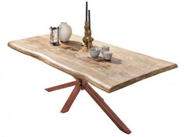 Masa dreptunghiulara cu blat din lemn de mango si cadru metalic maro 180x90x77 cm