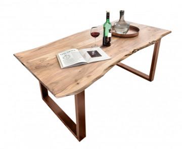 Masa dreptunghiulara cu blat din lemn de salcam Tables & Benches 200 x 100 x 76 cm maro