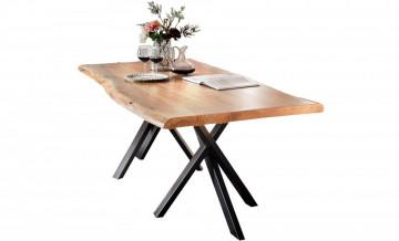Masa dreptunghiulara cu blat din lemn de salcam Tables & Benches 200 x 100 x 76 cm maro/neagra