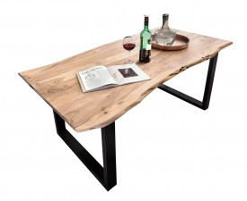 Masa dreptunghiulara cu blat din lemn de salcam Tables & Benches 140x80x78 cm maro deschis/ negru