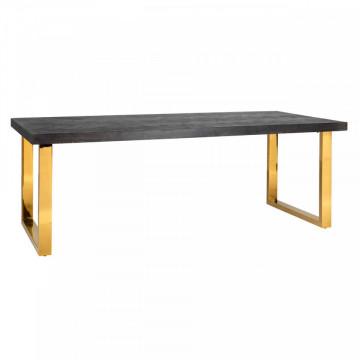 Masa dreptunghiulara cu blat din lemn de stejar Blackbone 77 x 180 x 90 cm gri inchis/auriu