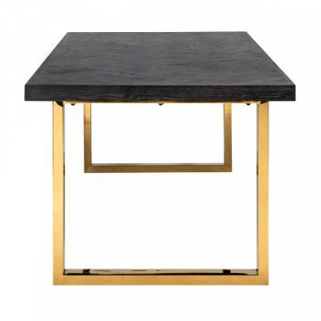Masa dreptunghiulara cu blat din lemn de stejar Blackbone 77 x 220 x 100 cm gri inchis/auriu