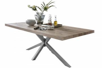 Masa dreptunghiulara cu blat din lemn de stejar Tables & Benches 220 x 100 x 76,5 cm maro deschis/argintiu