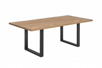 Masa dreptunghiulara cu blat din lemn de stejar Tables & Benches 180x90x76 cm maro deschis/ negru