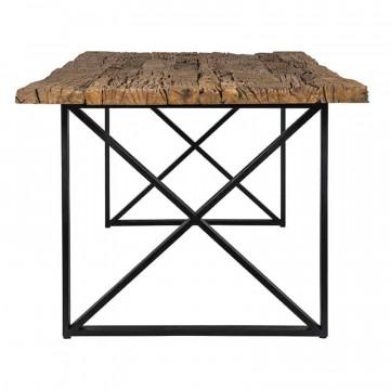 Masa dreptunghiulara cu blat din lemn de tec reciclat Industrial Kensington 75x200x100 cm