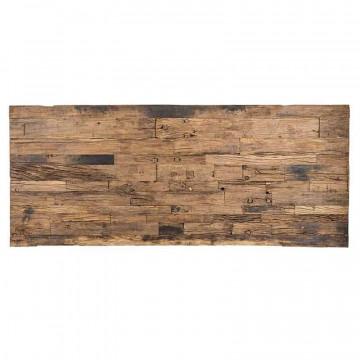 Masa dreptunghiulara cu blat din lemn de tec reciclat Kensington 75x240x100 cm