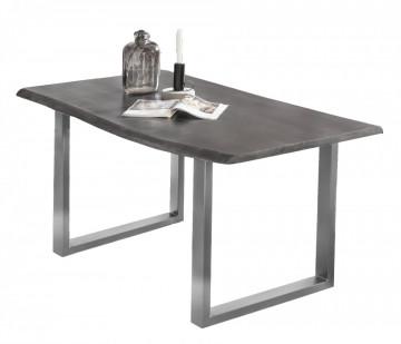 Masa dreptunghiulara din lemn de salcam Tables & Benches 140x80x77 cm negru/argintiu