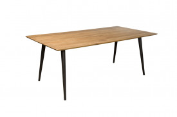Masa dreptunghiulara din lemn de stejar 220x100x77 cm maro/negru