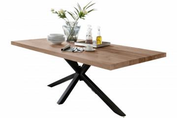 Masa dreptunghiulara din lemn de stejar Tables & Benches 200x100x76,5 cm maro deschis/ negru