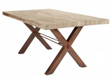 Masa dreptunghiulara din lemn de stejar Tables & Benches 200x100x76 cm maro deschis/maro inchis