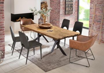 Masa dreptunghiulara din lemn de tec si cadru metalic negru 180x100 cm