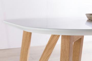Masa ovala din lemn 180x90x76 cm alb/maro