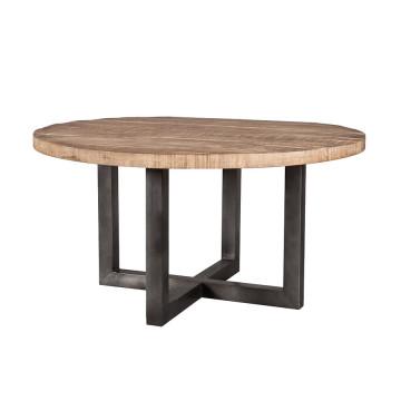 Masa rotunda cu blat din lemn de mango 150x150x78 cm maro/negru