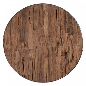 Masa rotunda cu blat din lemn si sticla Kensington 75 x 140 x 140 cm
