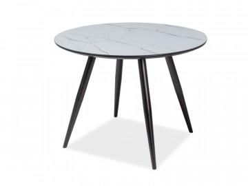 Masa rotunda cu blat din sticla 100 x 100 x 75 cm alb / negru