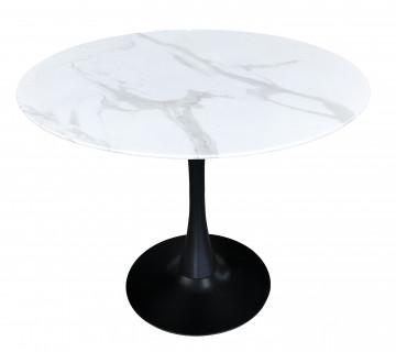 Masa rotunda cu blat din sticla si cadru metalic 100 cm alb/negru