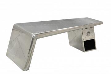 Masuta de cafea cu forma neregulata din metal Airman 132x60x45 cm argintie