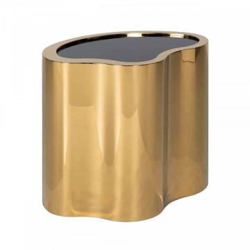 Masuta de cafea cu forma neregulata din sticla si metal Marquez 50x60x41 cm negru/auriu