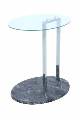 Masuta de cafea ovala din sticla cu spatiu de depozitare Julius 45,7x35,5x49 cm transparenta/negru/argintiu