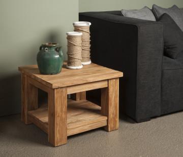 Masuta de cafea patrata din lemn cu spatiu de depozitare 60x60x45 cm maro