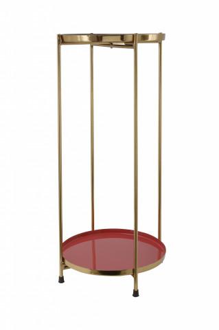 Masuta de cafea rotunda din fier 25x25x60 rosu / auriu