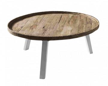 Masuta de cafea rotunda din lemn de tec Romanteaka 90x90x42cm maro/alb