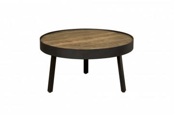 Masuta de cafea rotunda din lemn si metal 74x74x40 cm negru/maro