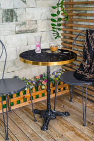 Masuta de cafea rotunda din marmura This&That 57x57x71 cm neagra