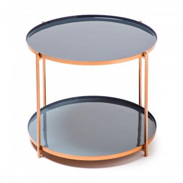 Masuta de cafea rotunda din metal cu spatiu de depozitare Tessa 50x50x40 cm gri/portocaliu