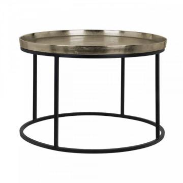 Masuta de cafea rotunda din metal Milo 45x70x70 cm aurie