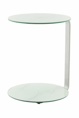 Masuta de cafea rotunda din sticla cu spatiu de depozitare Quentin 40x40x53 alb/argintiu
