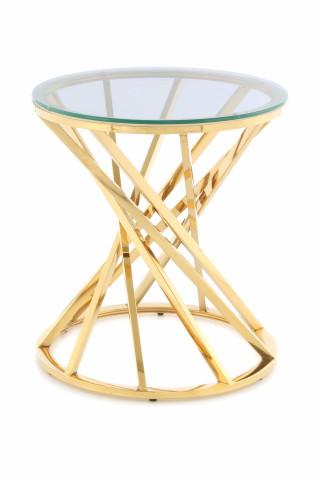 Masuta de cafea rotunda din sticla Wesley 50x50x55 cm transparenta/auriu