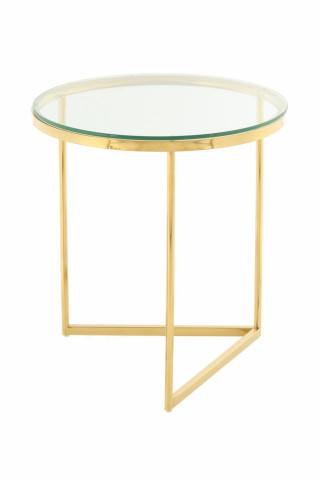 Masuta de cafea rotunda din sticla Wynona 40x40x42 cm transparenta/auriu