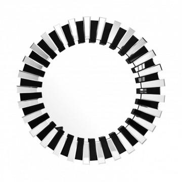 Oglinda rotunda Apollon Argintiu / Negru, 3,5cm (L / D) x 80cm (W) x 80cm (H)