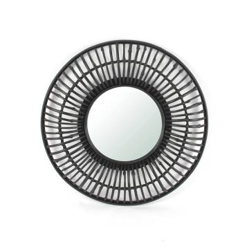 Oglinda rotunda cu rama din bambus neagra Wisdom, 60 x 60 x 6,5 cm