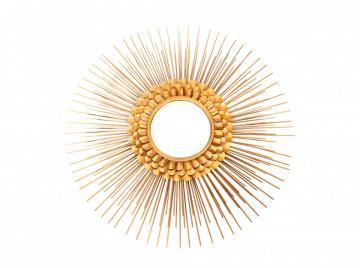 Oglinda rotunda cu rama din metal aurie Metal Augustus, 6cm (L / D) x 81cm (L) x 81cm (H)