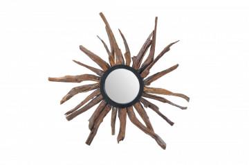 Oglinda soare cu rama din lemn maro ROMANTEAKA, 90 x 8 x 90 cm