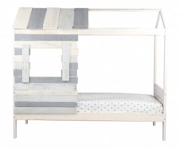 Pat pentru copii in forma de casa din MDF alb/gri, 102x206x182 cm