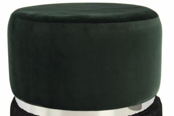 Puf/ Taburet tapitat cu franjuri Rebecca verde inchis / negru / argintiu
